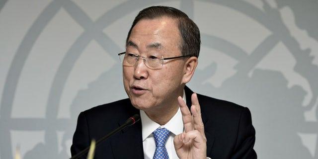 Oct. 23, 2013: UN General Secretary Ban Ki-moon gestures,  during a press conference in Copenhagen.
