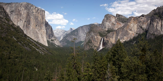 May 17, 2009: Water cascades from Bridalveil Fall from Tunnel View in Yosemite National Park, California.