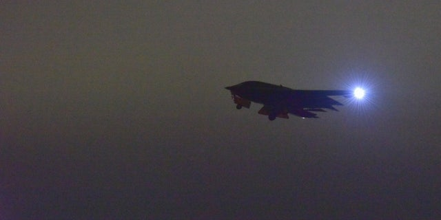A B-2 Spirit taking off Wednesday from Whiteman Air Force Base in Missouri to support the bombing campaign.
