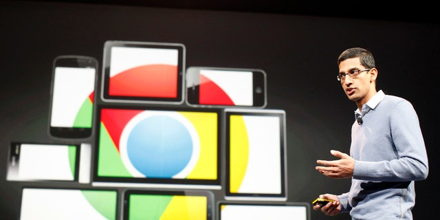 File photo: Sundar Pichai speaks during Google I/O Conference at Moscone Center in San Francisco, California June 28, 2012. (REUTERS/Stephen Lam)