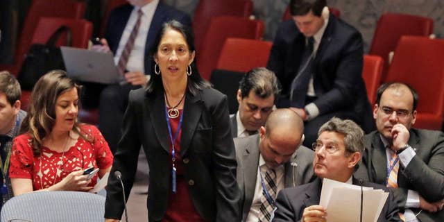 U.S. Deputy Permanent Representative to the U.N. Michele Sison arrives for the Security Council meeting of the United Nations, Thursday, Feb. 2, 2017. (AP Photo/Richard Drew)