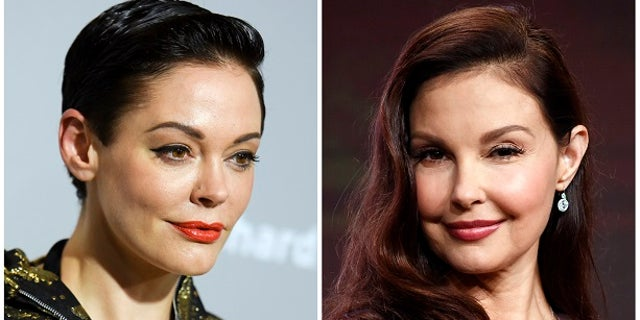 Rose McGowan at a premiere in Los Angeles on April 15, 2015, left, and Ashley Judd in Beverly Hills, Calif. on July 25, 2017. Producer Harvey Weinstein is alleged of decades of sexual harassment against women, including employees and actress Ashley Judd. The Times reported that at least eight women have received settlements, including actress Rose McGowan.