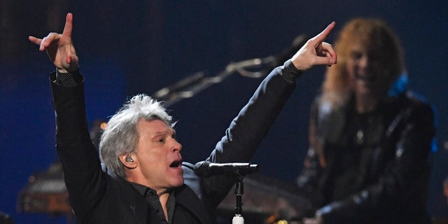 Jon Bon Jovi performs during the Rock and Roll Hall of Fame induction ceremony, Saturday, April 14, 2018, in Cleveland.
