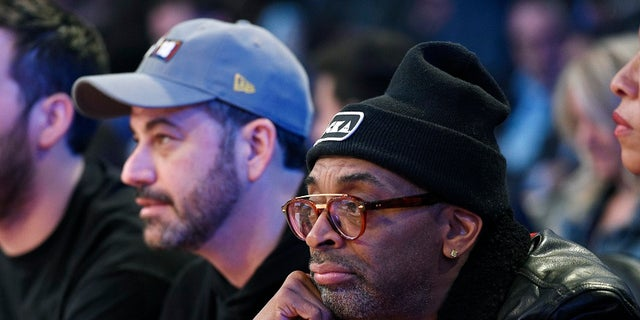 Jimmy Kimmel seated next to Spike Lee, who recently gave an expletive-laden anti-Trump speech at the Cannes Film Festival.