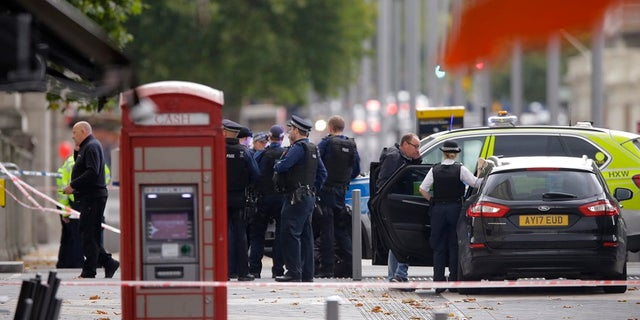 Britain's Police at the scene of an incident in central London, Saturday, Oct. 7, 2017.