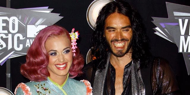 Katy Perry and Russell Brand  arrive with at the 2011 MTV Video Music Awards at Nokia Theatre L.A. LIVE on August 28, 2011 in Los Angeles, California. X17online.com