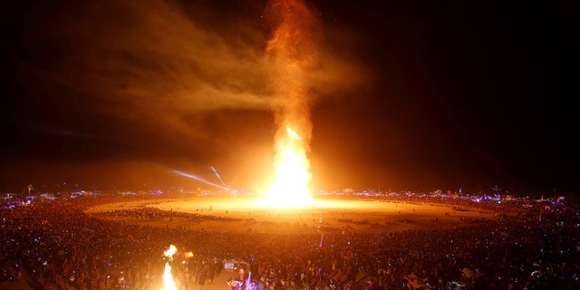 The Man is engulfed in flames as approximately 70,000 people from all over the world gathered for the annual Burning Man arts and music festival in the Black Rock Desert of Nevada, U.S. September 2, 2017.