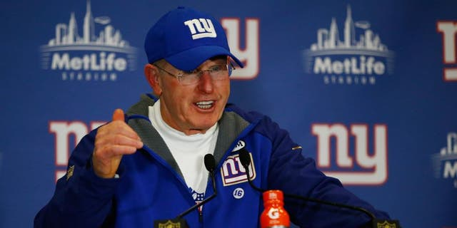 EAST RUTHERFORD, NJ - JANUARY 03: Head coach Tom Coughlin of the New York Giants speaks to the media after their loss to the Philadelphia Eagles at MetLife Stadium on January 3, 2016 in East Rutherford, New Jersey. (Photo by Al Bello/Getty Images)