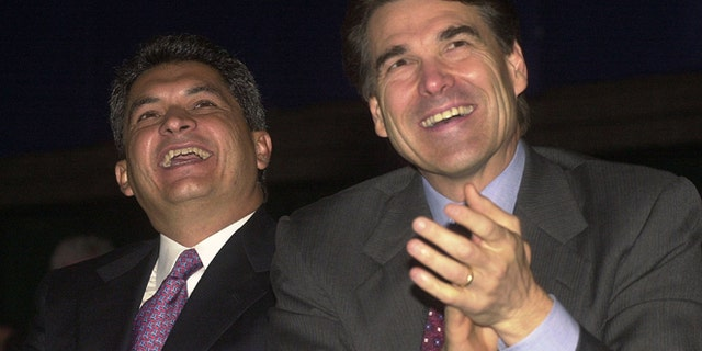 August, 22, 2001: Governor Tomas Yarrington (L) of the state of Tamaulipas, Mexico, and Texas Governor Rick Perry listen to remarks during the U.S. and Mexico Border Summit  in Edinburg, TX. (Photo by Alicia Wagner Calzada/Getty Images)