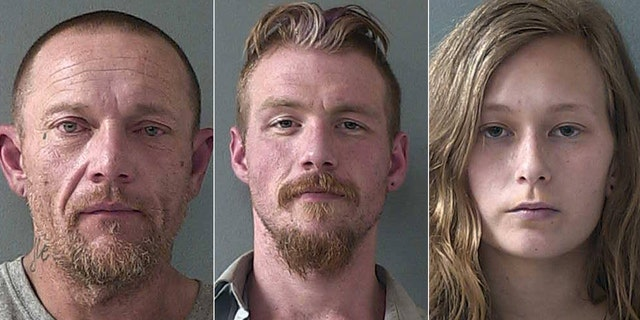 Mike Mulligan, left, Michael Martin and Emma St. Claire were booked at a correction facility in California for suspicion of burglary and possession of stolen property.