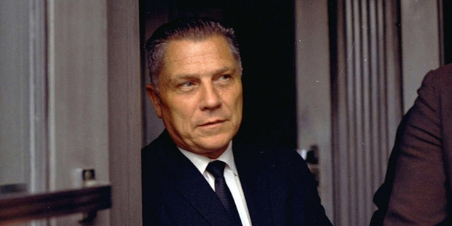 FILE - In this Aug. 21, 1969 file photo, Teamsters Union leader James Hoffa is shown in Chattanooga, Tenn. The FBI has seen enough merit in a reputed Mafia captain's tip to once again break out the digging equipment to search for the remains of Hoffa, last seen alive before a lunch meeting with two mobsters nearly 40 years ago. Tony Zerilli told his lawyer that Hoffa was buried beneath a concrete slab in a barn in a field in suburban Detroit in 1975. (AP Photo/File)
