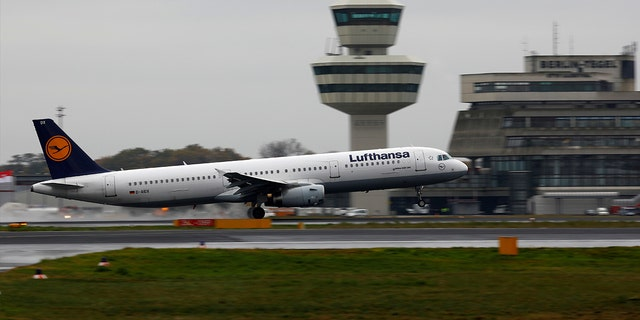 A Lufthansa Airbus A321-200 plane takes off at Tegel airport in Berlin, Germany.