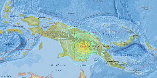 The location of a 7.5 magnitude earthquake in Papua New Guinea on Sunday.