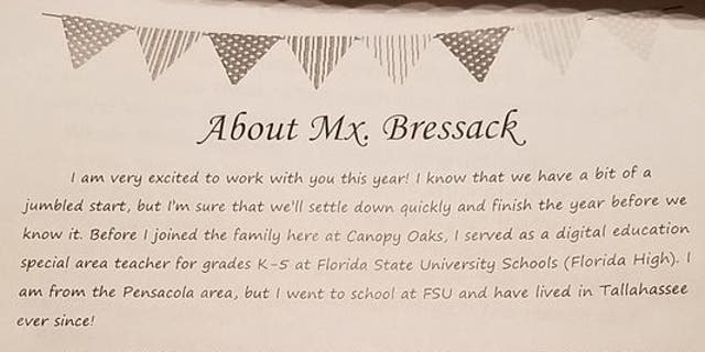 The letter Chloe Bressack wrote to parents and students.