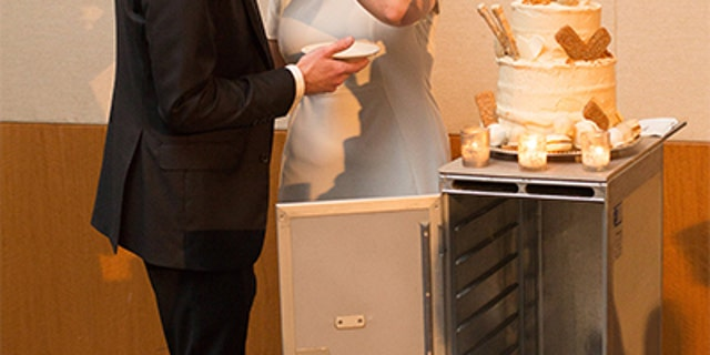 Dessert arrived at the reception on beverage carts, which the couple personally own.