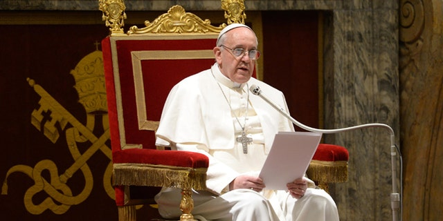 VATICAN CITY, VATICAN - MARCH 15:  (EDITORIAL USE ONLY - STRICTLY NO COMMERCIAL OR MERCHANDISING USAGE - BOOKS OUT, BROADCAST OUT, All image rights and copyrights reserved to the photographic Service of L'Osservatore Romano). IMAGE IS NOT LICENSED FOR USAGE BEYOND 60 DAYS OF CREATE DATE. Pope Francis meets with the full College of Cardinals, electors and non-electors in the Clementine Hall of the Apostolic Palace, on March 15, 2013 in Vatican City, Vatican. The inauguration mass of Pope Francis, the first ever Latin American Pontiff,  will be held on March 19, 2013 in Vatican City. The Pope met with cardinals earlier on his second day as Pontif. (Photo by Servizio Fotografico L'Osservatore Romano via Getty Images)