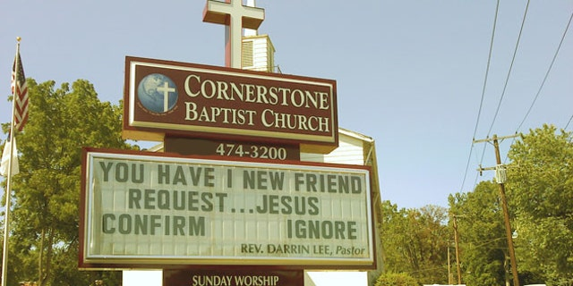 FILE -- In this Sept. 2010 photo, the sign outside Cornerstone Baptist Church displays its message to drivers in Farmington Hills, Mich.
