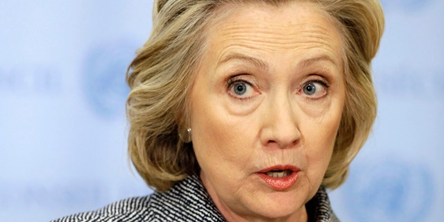 FLE - March 10, 2015: Hillary Rodham Clinton speaks to the reporters at United Nations headquarters.