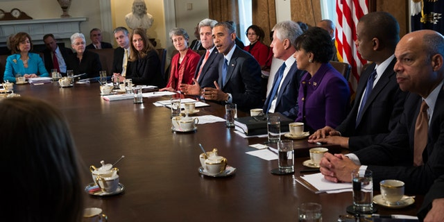 Feb. 3, 2015: President Obama delivers remarks on his budget proposal during a cabinet meeting in the Cabinet Room of the White House.