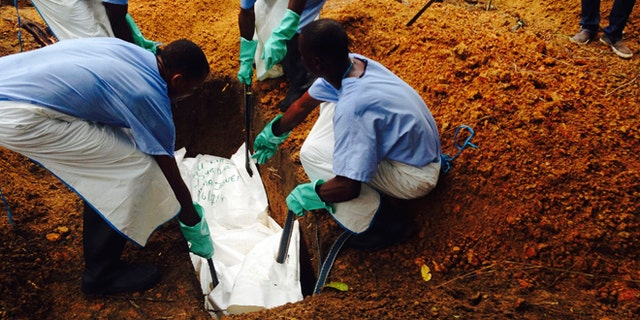 Volunteers lower a corpse, which is prepared with safe burial practices to ensure it does not pose a health risk to others and stop the chain of person-to-person transmission of Ebola, into a grave in Kailahun July 18, 2014. REUTERS/WHO/Tarik Jasarevic/Handout via Reuters