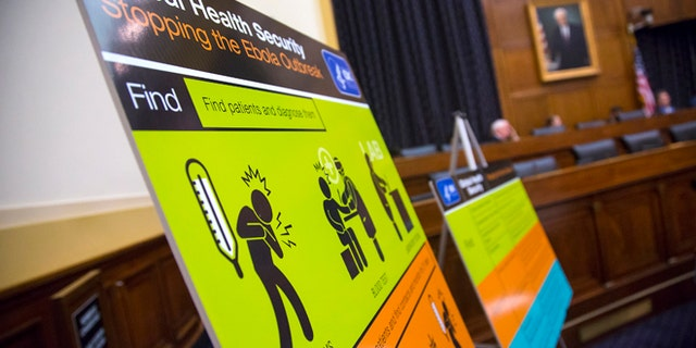 U.S. Centers for Disease Control and Prevention (CDC) educational materials are displayed at a hearing of a House Foreign Affairs subcommittee, about the Ebola crisis in West Africa, on Capitol Hill in Washington August 7, 2014. Dr Thomas Frieden, the director of the U.S. Centers for Disease Control and Prevention, said on Thursday he has activated the agency's emergency operation center at the highest response level to help respond to the worst Ebola outbreak in history. REUTERS/Jonathan Ernst (UNITED STATES - Tags: POLITICS HEALTH) - RTR41MGQ