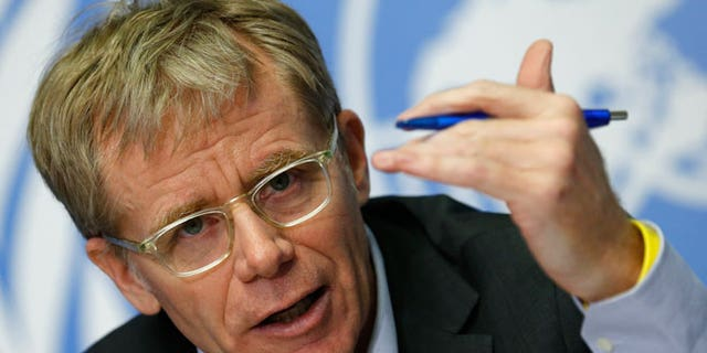 Bruce Aylward, Assistant Director-General for Emergencies at the World Health Organization gestures during a news conference on Ebola aside of the World Health Assembly at the United Nations in Geneva, Switzerland, May 26, 2015.