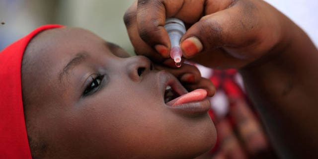 In this Sunday, April 13, 2014 file photo, a health official administers a polio vaccine to a child in Kawo Kano, Nigeria Polio is no longer endemic in Nigeria, the World Health Organization said late Friday, Sept. 25, 2015 leaving only Pakistan and its war-battered neighbor Afghanistan in the list of countries where the disease is prevalent.