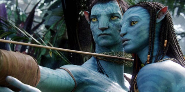 """Giant blue avatars aid miners on a distant planet in the science-fiction film """"Avatar."""""""