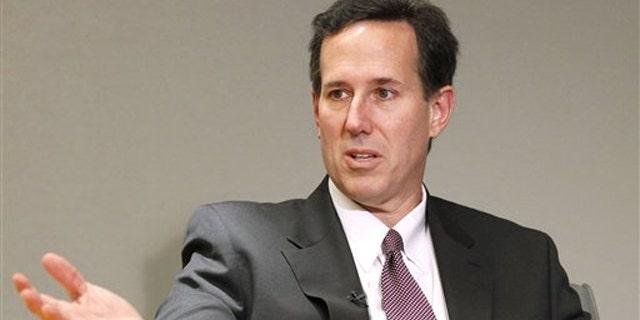 In this Dec. 7, 2010, photo, former Pennsylvania Sen. Rick Santorum is interviewed by The Associated Press in Washington.