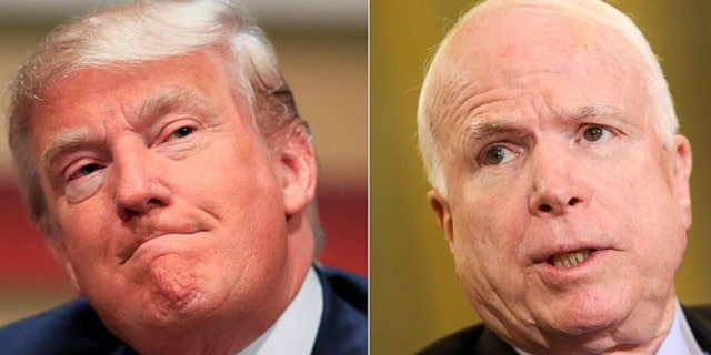 Arizona GOP Sen. John McCain, right, a Vietnam war prisoner, on Saturday criticized President Trump, left, for failing to mention Vietnam's ongoing human rights violations while visiting Da Nang.