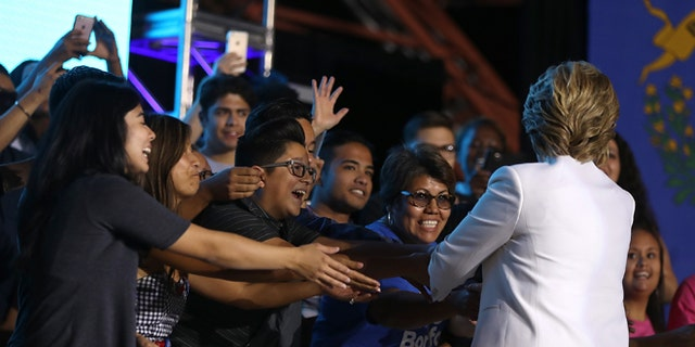 NORTH LAS VEGAS, NV - OCTOBER 19:  Democratic presidential nominee Hillary Clinton greets supporters during a debate watch party at Craig Ranch Regional Park Amphitheater following the third U.S. presidential debate at UNLV on October 19, 2016 in North Las Vegas, Nevada. Tonight was the final debate ahead of Election Day on November 8.  (Photo by Justin Sullivan/Getty Images)