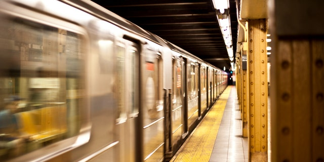 Subway train in motion