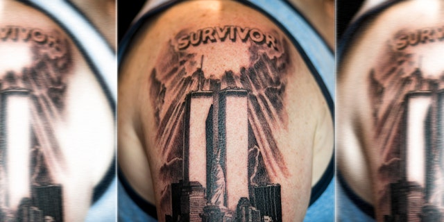 Tom Canavan shows the tattoo, artist Zero, created for him at Healing Ink in New York City.