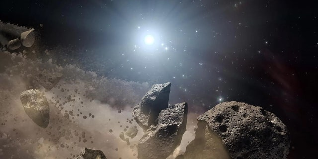 Researchers have found that a family of asteroids that dates back to the solar system's early days. Here is an artist's concept of a broken-up asteroid. The leftover building blocks of the solar system, called planetesimals, were similarly fragmented, and they drifted apart over time. (Credit: NASA/JPL-Caltech)