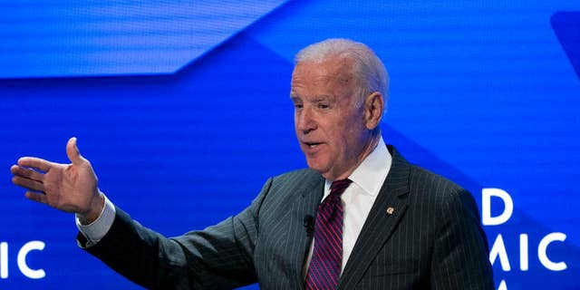 U.S. Vice President Joe Biden speaks during an event prior to the World Economic Forum in Davos, Switzerland, Monday, Jan. 16, 2017. (AP Photo/Michel Euler)