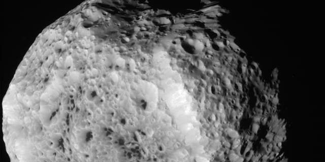 Aug. 25, 2011: NASA's Cassini spacecraft obtained this unprocessed image of Saturn's moon Hyperion during a close flyby.
