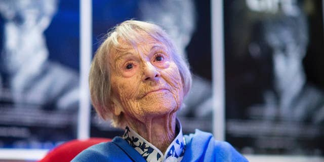 FILE - In this June 29, 2016 photo Brunhilde Pomsel, former secretary of NS propaganda minister Goebbels, attends the premier of the film 'Eindeutsches Leben' (lit. A German Life) in Munich, Germany. Pomsel has died. She was 106.. (Matthias Balk/dpa via AP)