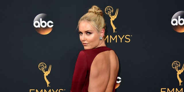 """Woods and Vonn blamed their 2015 breakup on their """"hectic"""" schedules. Here, the Olympic skier poses on the red carpet at the 2016 Emmy Awards in Los Angeles."""