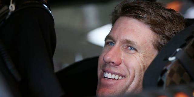 HOMESTEAD, FL - NOVEMBER 18: Carl Edwards, driver of the #19 ARRIS Toyota, sits in his car in the garage area during practice for the NASCAR Sprint Cup Series Ford EcoBoost 400 at Homestead-Miami Speedway on November 18, 2016 in Homestead, Florida. (Photo by Sean Gardner/NASCAR via Getty Images)