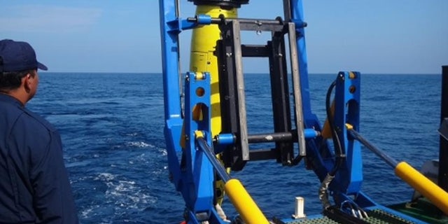 REMUS 6000 being deployed off the Colombian Navy research ship ARC Malpelo.
