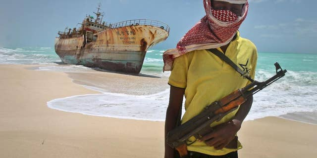 A masked Somali pirate in 2012.