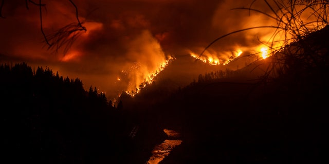 The Delta Fire burns in the Shasta-Trinity National Forest, Calif., on Wednesday, Sept. 5, 2018. Parked trucks lined more than two miles of Interstate 5 as both directions remained closed to traffic.