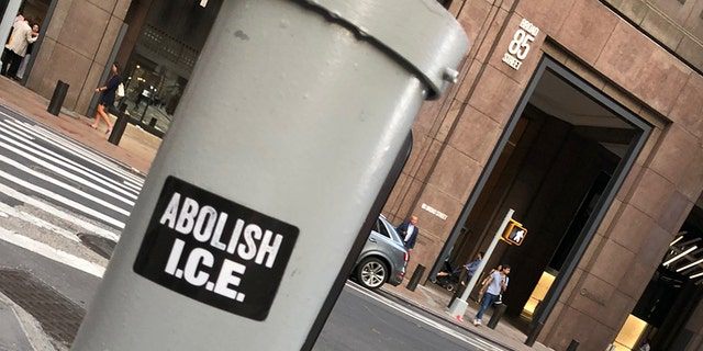 """An """"Abolish ICE"""" sticker in New York City on Tuesday."""