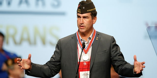 Actor and comedian Rob Riggle speaks at the Veterans of Foreign Wars Convention in Charlotte, North Carolina July 26, 2016.