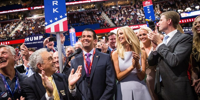 On July 19, 2016: Donald Trump Jr., Ivanka Trump and Eric Trump reaction to their father's nomination at the Republican National Convention in Cleveland, Ohio.