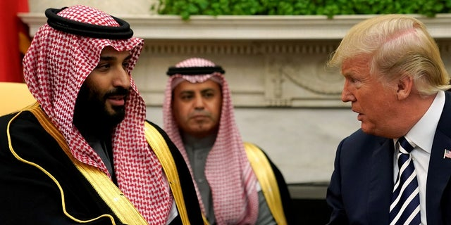 President Trump shakes hands with Saudi Crown Prince Mohammed bin Salman at the White House in March