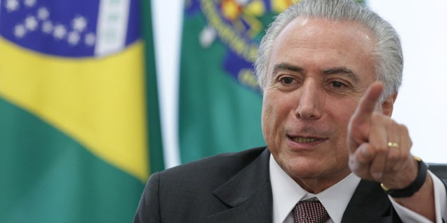 Brazil's acting President Michel Temer at the Planalto Presidential Palace on Monday, May 16, 2016.