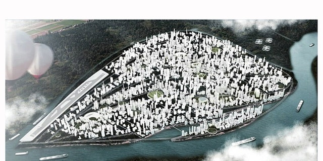 An architectural rendering of what Liberland could look like once populated.