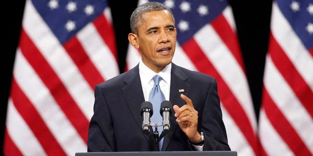 FILE - In this Jan. 29, 2013 file photo, President Barack Obama gestures as he speaks in Las Vegas.