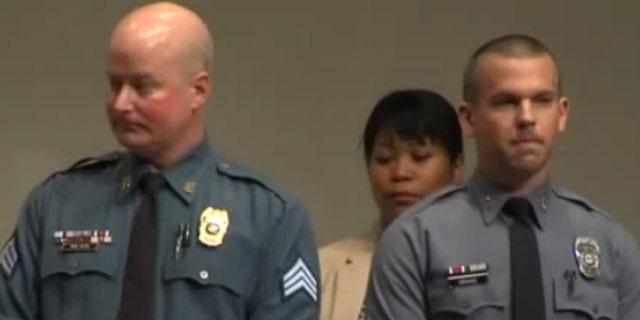 Officer Darrin Wilson, left, and Officer Jeremy Gragg were awarded the Medal of Valor.